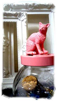 ピンク猫のガラスポット